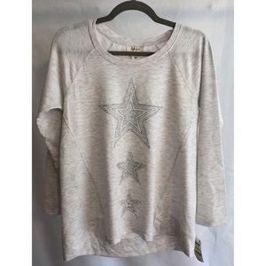 Style & Company Metallic Star Sweatshirt - Medium